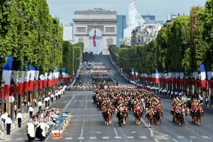 French troops march down the Champs Elysees during the annual Bastille Day military parade in Paris on July 14, 2015. AFP PHOTO / ALAIN JOCARD